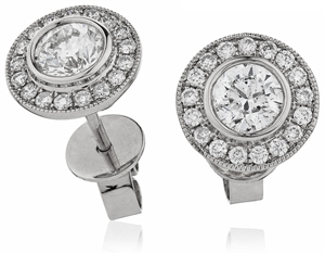 Image for 0.90ct Classic Round Diamond Single Halo Earrings