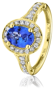 Image for Oval Blue Tanzanite & Diamond Engagement Ring