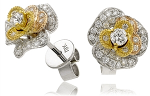 Buy 18ct Yellow Gold Designer Diamond Earrings