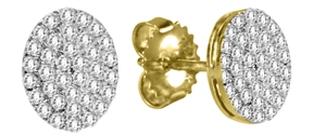 Buy 18ct Yellow Gold Cluster Diamond Earrings
