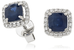 18ct White Gold Cushion Cut Gemstone & Diamond Earrings