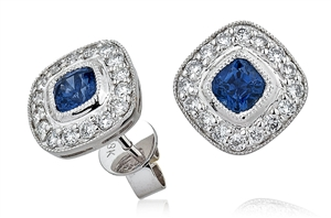 Platinum Cushion Cut Gemstone & Diamond Earrings
