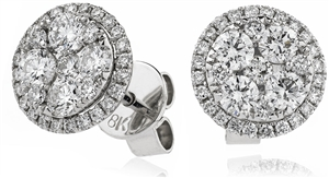 Platinum Round Diamond Cluster Earrings