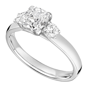 Image for Classic Cushion & Round Diamond Trilogy Ring