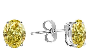 18ct White Gold Oval Yellow Diamond Earrings