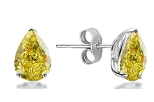 18ct White Gold Pear Shaped Yellow Diamond Earrings