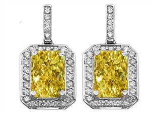 18ct White Gold Radiant Cut Yellow Diamond Earrings