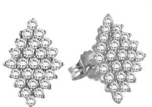 Image for Elegant Marquise Shaped Round Diamond Cluster Earrings