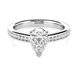 Image for Classic Pear/Round Diamond Shoulder Set Ring