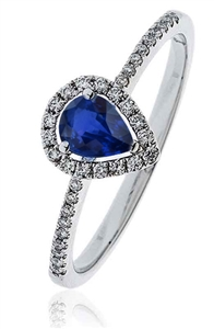 Image for 0.50CT Pear Blue Sapphire & Diamond Ring