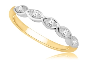 18ct Yellow Gold Marquise Half Prong Eternity Rings
