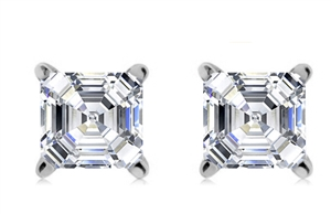 Platinum Asscher Cut Diamond Studs
