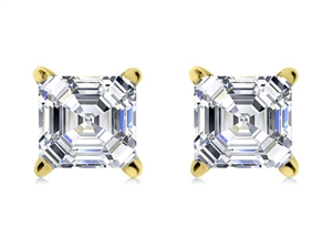 18ct Yellow Gold Asscher Cut Diamond Studs