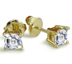 9ct Yellow Gold Ascher Cut Diamond Studs