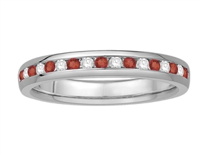 Image for 2mm Red Ruby and Diamond Eternity Ring