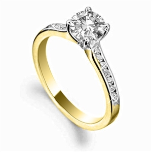 18ct Yellow Gold Shoulder Set Diamond Rings