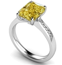 Fancy Yellow Radiant Diamond Shoulder Set Ring