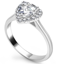 Image for Modern Heart Diamond Single Halo Ring