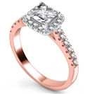 Image for Corner Claw Princess Diamond Single Halo Ring