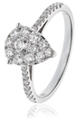 Image for 0.60CT Modern Pear Shaped Round Diamond Cluster Ring