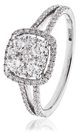 0.75CT Modern Split Shoulder Round Diamond Cluster Ring