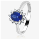 Image for 1.30CT Blue Sapphire & Diamond Halo Engagement Ring