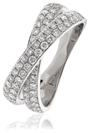 1.00CT Elegant Round Diamond Cross Over Dress Ring