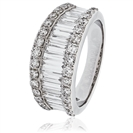 2.00CT Round & Baguette Diamond Multi Row Dress Ring