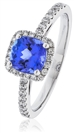 Image for Cushion Blue Tanzanite & Diamond Engagement Ring