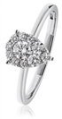 0.30CT Modern Pear Shaped Round Diamond Cluster Ring