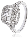 Image for 1.00CT Modern Round and Baguette Diamond Halo Cluster Ring