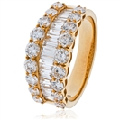 Image for 2.20CT Round & Baguette Diamond Multi Row Dress Ring
