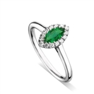 Marquise Green Emerald & Diamond Halo Ring