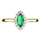 Image for Marquise Green Emerald & Diamond Halo Ring