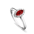 Image for Marquise Ruby & Diamond Halo Ring