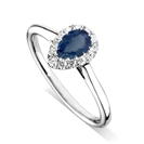 Image for Pear Blue Sapphire & Diamond Halo Ring