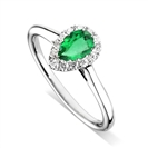 Emerald Pear & Diamond Halo Ring