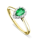 Image for Emerald Pear & Diamond Halo Ring