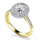 Image for Oval Diamond Double Halo Shoulder Set Ring