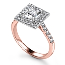 Image for Princess Diamond Double Halo Shoulder Set Ring