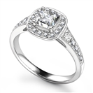 Cushion Diamond Designer Halo Shoulder Set Ring