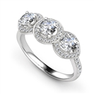 Image for Round Diamond Designer Halo Shoulder Set Ring