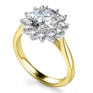 Image for Round Diamond Floral Designer Ring