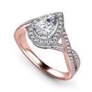 Image for Milgrain Pear Diamond Single Halo Infinity Style Ring