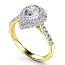 Image for Double Halo Pear Diamond Shoulder Set Ring