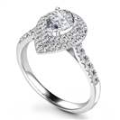 Double Halo Pear Diamond Shoulder Set Ring