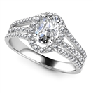 Image for Oval Diamond Single Halo Triple Row Shoulder Set Ring