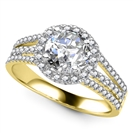 Image for Round Diamond Single Halo Triple Row Shoulder Set Ring