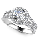Round Diamond Single Halo Triple Row Shoulder Set Ring