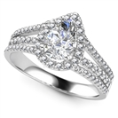 Image for Pear Diamond Single Halo Triple Row Shoulder Set Ring